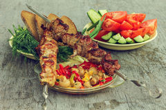 Stillife with holiday makers menu skewers with vegetables Royalty Free Stock Photos