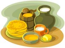 Stillife med pannkakor Arkivfoto