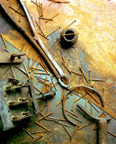 Stillife of old rusty tools. In the studio Stock Images