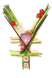 Too poor to bye cheaper. A stillife of yen sign made of sushi Stock Images
