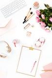 Stillleben der Modefrau, Gegenstände auf Weiß Lizenzfreie Stockbilder