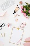 Stillleben der Modefrau, Gegenstände auf Weiß Stockfotografie