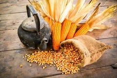 Stillleben des Maissaatguts, des alten Kessels und des getrockneten Mais lizenzfreie stockfotografie