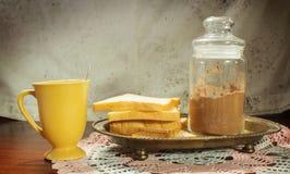 Stillleben des Nachtischs und des Getränks. Stockfotografie