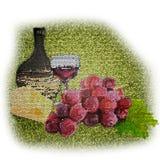 Stillleben des Traubenkäseweins stock abbildung
