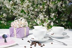 Stillleben eines Tasse Kaffees Lizenzfreies Stockbild