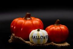 Stillleben-Halloween-Kürbis auf schwarzem Hintergrund Dunkles Halloween lizenzfreies stockfoto
