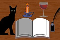 Stillleben: Katze mit einem offenen Buch, einer Kerze, einem Wein und einer Tinte Stockbilder