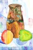 Stillleben mit Apfel, Krug und Birne, Aquarellmalerei Lizenzfreies Stockfoto