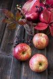 Stillleben mit bunten Äpfeln lizenzfreie stockbilder