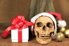 Stillleben mit dem Schädel und Geschenk Stockbilder