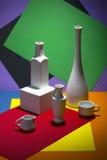 Stillleben mit den Vasen und Schalen auf gefärbt Stockfotos