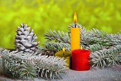 Stillleben mit drei Kerzen Lizenzfreies Stockbild