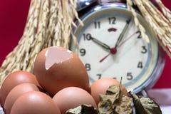 Stillleben mit Eierschalen und Eiern, alter gebrochener Wecker, Samen des ungeschälten Reises, bunter Hintergrund Lizenzfreie Stockfotos