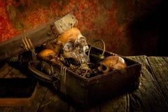 Stillleben mit einem menschlichen Schädel mit alter Schatztruhe Lizenzfreie Stockfotografie
