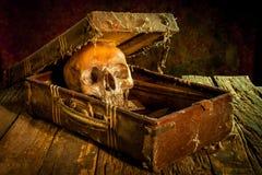 Stillleben mit einem menschlichen Schädel mit alter Schatztruhe und Gold, Stockbild
