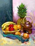 Stillleben mit einer Banane, einer Pflaume, einer Ananas und einem Tee Lizenzfreies Stockbild