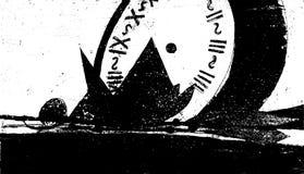 Stillleben mit einer Uhr, einer Pyramide und einer trockenen Niederlassung Lizenzfreie Stockfotografie