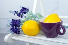 Stillleben mit frischen Zitronen und Lavendel auf hellem Hintergrund Stockfoto