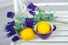 Stillleben mit frischen Zitronen und Lavendel auf hellem Hintergrund Stockbilder