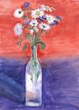 Stillleben mit Gänseblümchen und Klee in der Zeichnung eines Glasflaschen-Kindes Lizenzfreie Stockbilder