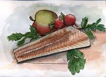 Stillleben mit Kabeljaufilet und Apfel vektor abbildung