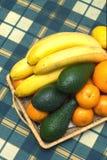 Stillleben mit Nahaufnahme der tropischen Früchte Stockfoto