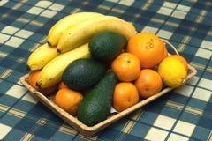 Stillleben mit Nahaufnahme der tropischen Früchte Lizenzfreies Stockfoto