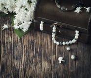 Stillleben mit Schatztruhe- und Perlenhalsketten Stockfotos