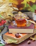 Stillleben mit Tee, Büchern und Blättern im Herbst Lizenzfreies Stockfoto