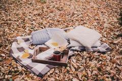 Stillleben mit Tee, französischem Laib, gestrickten Kissen und Buch Stockbild