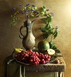 Stillleben mit Trauben und altem Krug Stockfotos