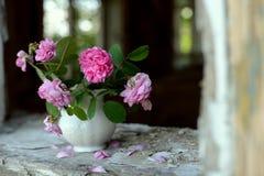 Stillleben mit verblaßten Rosen stockfotografie