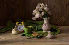 Stillleben mit weißer Iris Stockbild
