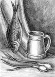Stillleben-Snack zum Bier Tinte, Feder, Papier Stockfotografie