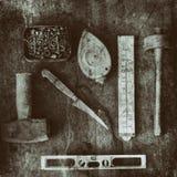 Stillleben von altmodischen Werkzeugen stockbild
