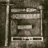 Stillleben von altmodischen Werkzeugen stockfoto