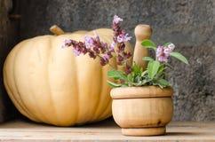 Stillleben von aromatischen Kräutern Stockfotos