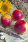Stillleben von drei Pfirsichen Stockfoto