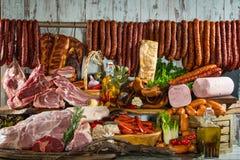 Stillleben von Fleischwaren Stockfotos