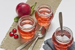 Stillleben von Gläsern mit Saft und Pfirsich stockfoto