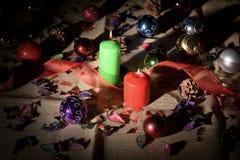 Stillleben von Weihnachtsdekorationen Stockfotos