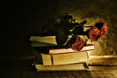 Stilllebenblumen auf B?cher alt in der dunkelroten rosafarbenen flowe Ton-Weinleseart lizenzfreies stockfoto