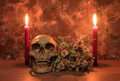 Stilllebenmalereiphotographie mit dem menschlichem Schädel, Blumenstrauß und Ca Lizenzfreie Stockbilder