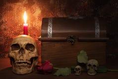 Stilllebenmalereiphotographie mit dem menschlichen Schädel, stieg, leuchtet a durch Lizenzfreie Stockfotografie