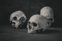 Stilllebenphotographie mit den menschlichen Schädeln auf hölzerner Tabelle Lizenzfreies Stockfoto