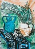 Stilllebenzusammensetzungsillustration mit einer Teekanne, Blumen, Krug, Stockfoto