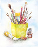 Stilllife with art materials in watercolor. yellow mug, brush, p. Aint, tube. Concept of art Royalty Free Stock Photos