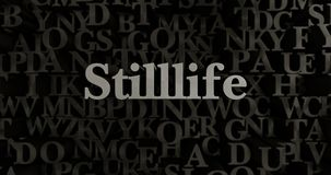 Stilllife - 3D rendered metallic typeset headline illustration. Can be used for an online banner ad or a print postcard Stock Photo
