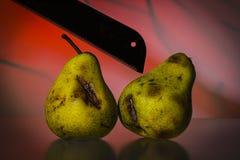 Stilllife med två gamla päron och en såg på en röd vibrerande backgrou Royaltyfri Fotografi